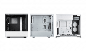 Three white PC cases